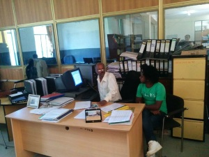 Derebe - our country representative with the Finance Department - working hard to get all paperwork completed jun '15